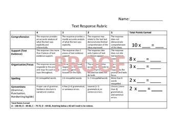 Text Based Response Rubric