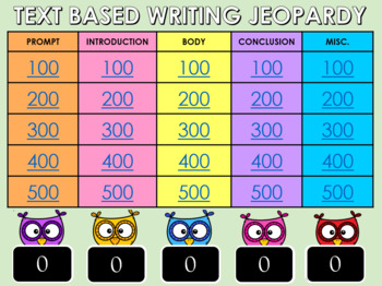 Text Based Writing Jeopardy