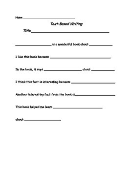 Text Based Writing for Primary