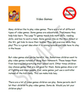 Text Based opinion writing prompt, Video games