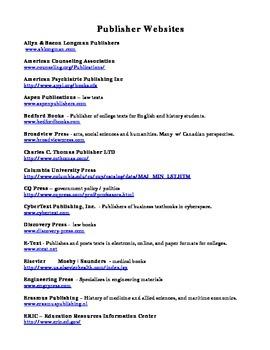 Text Book Publisher Website List