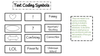 Text Coding Bookmarks & Interactive Notebook