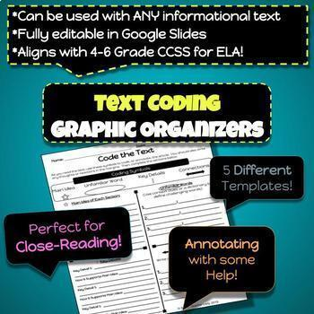 Text Coding Graphic Organizers *Close-Reading & Annotating*