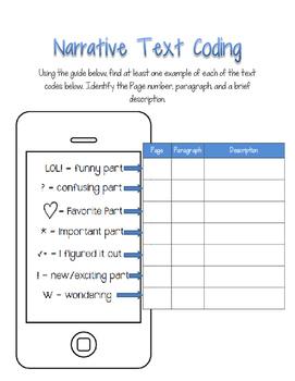 Text Coding Phone Graphic Organizer