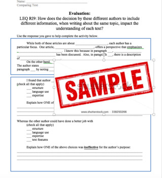 Text Comparision Graphic Organizer and Activity