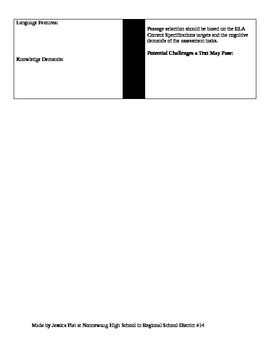 Text Complexity Cover Page for Materials