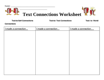 text connection worksheet by brooke beverly teachers pay teachers. Black Bedroom Furniture Sets. Home Design Ideas