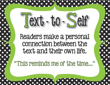 Text Connections Classroom Posters in Black, White Polka dot with Lime Accents