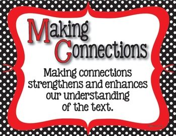 Text Connections Classroom Posters in Black and White Polka dot with Red Accents