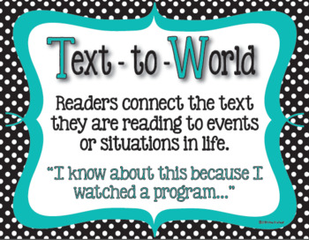 Text Connections Classroom Posters in Black & White Polka dot with Teal Accents