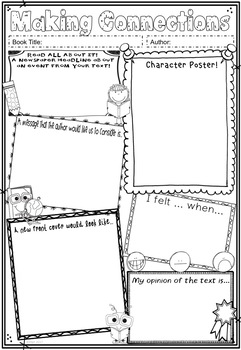 Reading Text Connections Worksheets & Posters ~ Book / Novel Responses