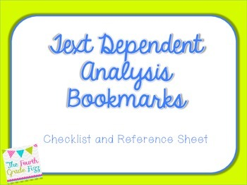 Text Dependent Analysis Bookmarks