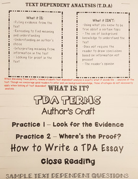 Text Dependent Analysis Flip Book  - TDQ, Text Evidence, and Close Reading Guide