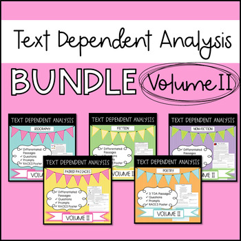 Text Dependent Analysis - GROWING Bundle of Passages, Prompts and Questions - V2