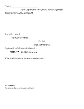 Text Dependent Analysis Graphic Organizer