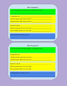 Text Dependent Analysis Graphic Organizer (5 Paragraph Essay Response)