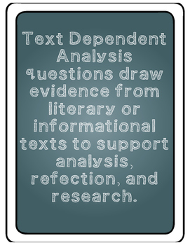 Text Dependent Analysis Posters