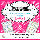 ELA Text Dependent Analysis Questions FREEBIE - Author's Craft 8 Task Cards