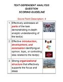 Text Dependent Analysis Rubric with pictures for Grades 4-