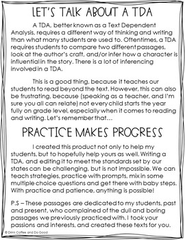 Text Dependent Analysis - TDA - Biography Passages, Prompts and Questions
