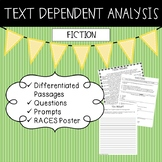 Text Dependent Analysis - TDA - Fiction Passages, Prompts and Questions