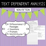Text Dependent Analysis - TDA - Non-fiction Passages, Prompts and Questions