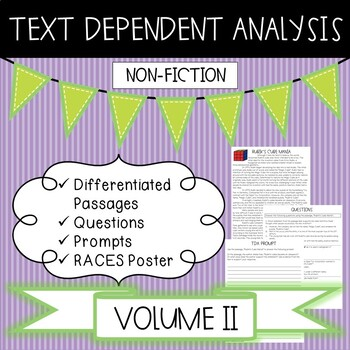 Text Dependent Analysis - TDA - Non-fiction Passages, Prompts and Questions -V2