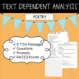 Text Dependent Analysis - TDA - Poetry Passages, Prompts and Questions