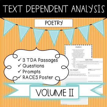 Text Dependent Analysis - TDA - Poetry Passages, Prompts and Questions - V2
