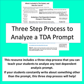 "Text Dependent Analysis (TDA) Practice Packet Featuring the Story ""Snow-Sister"""