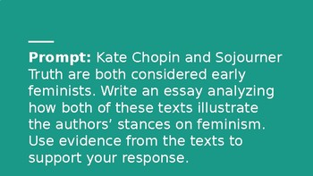 Text-Dependent Analysis (TDA) Practice w/ Paired Texts (Chopin & SojournerTruth)