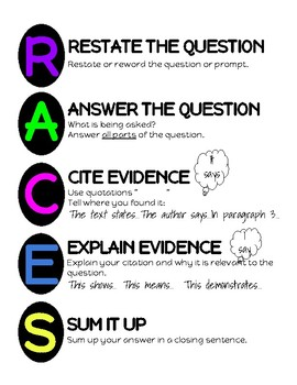 Text Dependent Analysis TDA RACES poster