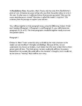 Easy Text Dependent Analysis TDA Writing Prompt for 5th Grade
