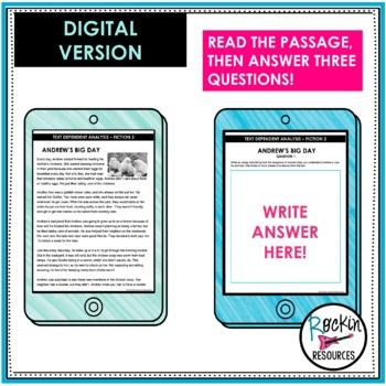 Text Dependent Analysis- Text Evidence Writing