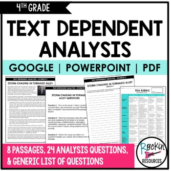 Text Dependent Analysis- Text Evidence Writing