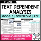 Text Dependent Analysis Text Evidence Writing