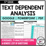 Text Dependent Analysis-Text Evidence Writing-5th Grade