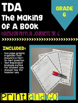 """Text Dependent Analysis """"The Making of a Book"""" HM Journey's Grade 6"""
