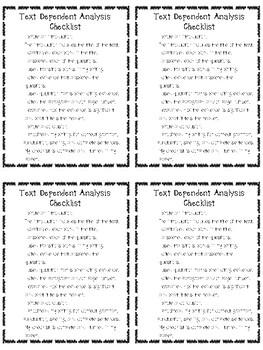 Text Dependent Analysis Writing Checklist