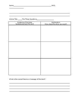 Text Dependent Essay - Success