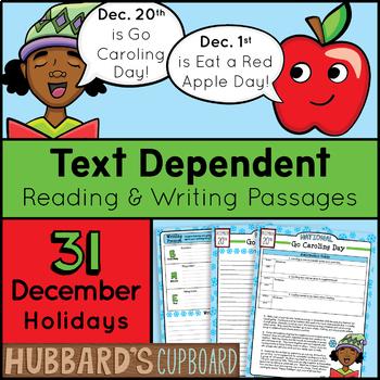 31 December Text Dependent Reading Passages / Google Slides / Writing Prompts