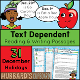 31 December Reading Passages / December Writing Prompts / December Activities