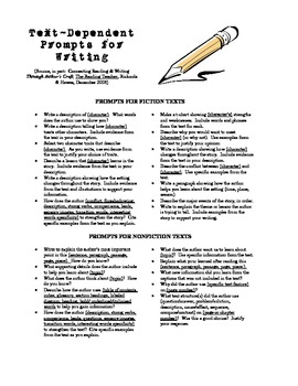 Text-Dependent Prompts for Writing