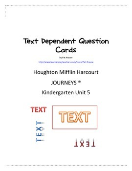Text Dependent Question Cards
