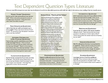 Text Dependent Question Types