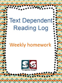 Text Dependent Question Weekly Reading Log Homework form