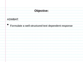 Text Dependent Question structure PowerPoint Presentation