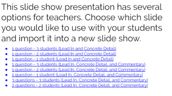 Text Dependent Questions Collaboration Template