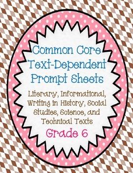 Text Dependent Questions: Grade 6