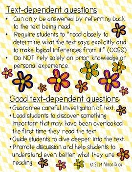 Text Dependent Questions: Grade K